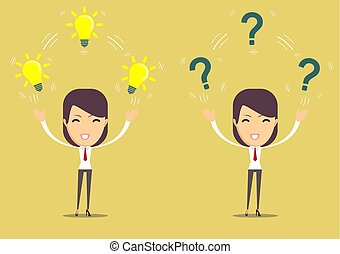 women with lamp and question mark. Stock flat vector...