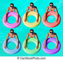 Women with many color inflatable buoy in water