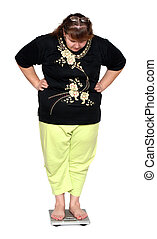 women with overweight looking on scales