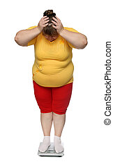 women with overweight on scales