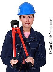 Women with pliers resting on the shoulder