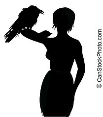 Women with raven