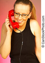 Women with red phone