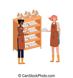 women with shelf of egg isolated icon