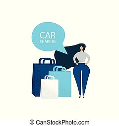 Women with shopping bags. Car sharing for shopping. Vector illustration.