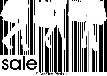 Women with shopping bags on bar code background