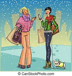 Women with shopping bags, phone and dog