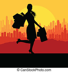 Women with shopping bags vector background abstract concept...