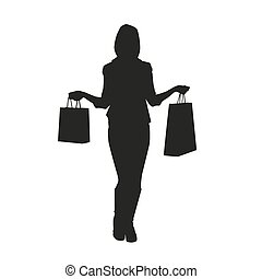 Women with shopping bags. Vector silhouette