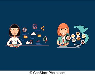 women with technological devices connected world of social networks