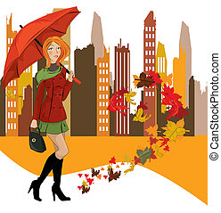 women with umbrella in the city