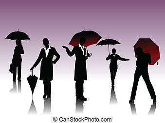 Women with umbrella silhouettes
