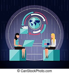 women working and set icons business