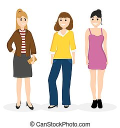 Women young girlfriends communicate, vector illustration on a wh