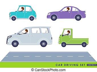 women_cars, plano, de lado, tipo, empresa / negocio