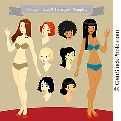Women_Races & Hairstyles_Template_Stock