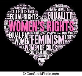 womens, 単語, 雲, 権利