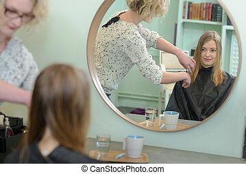 womens, 大広間, 美容師, ヘアカット, 美しさ