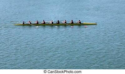 womens, 승무원 팀, 로잉, 통하고 있는, 호수, 팬