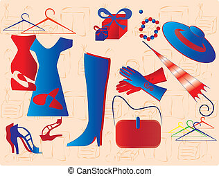 Womens accessories, dresses, shoes, umbrella and gloves on the background of home furniture