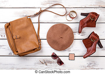 Women's accessories, flat lay, top view.