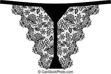 Womens black lace panties isolated on white