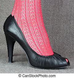 women's black leather shoes with red delicate tights