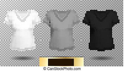 black white female v neck shirt template