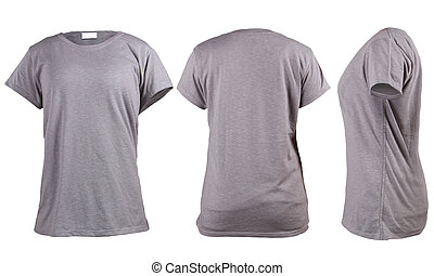 Women's blank grey t-shirt, front, back and side vie ...