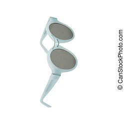 Women's blue sunglasses isolated on white background