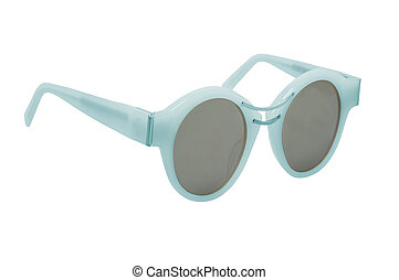 Women's blue sunglasses isolated on white background