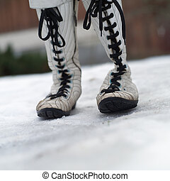Womens boots on the snow