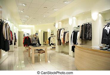women`s, bovenleer, kleren, in, winkel