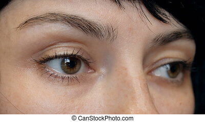 Women's brown eyes close-up. Good vision, contact lenses. 4k