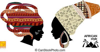 womens, cabezas, africano