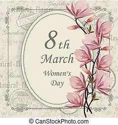 womens, card., saludo, día