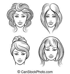 womens, coiffures, différent, faces