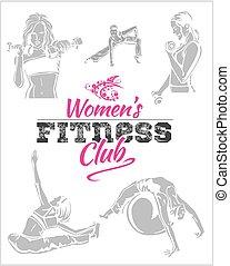 womens, condición física, gimnasio, -, vector, acción