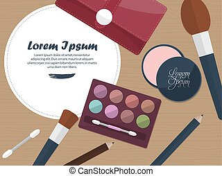 Womens cosmetics on a table with place for your text. Vector