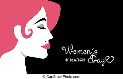 Women's Day 8 march design with girl face