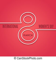 womens day 8 march line concept on red background