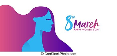 Womens Day 8th march girl face profile banner