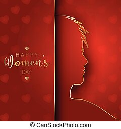 Women's Day background with female silhouette