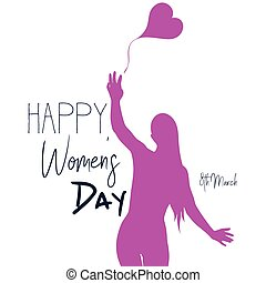Womens day background with  woman silhouette  and decorative text