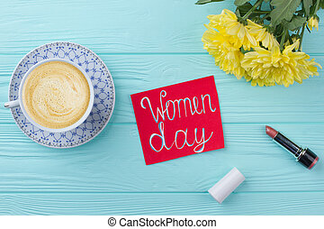 Women's day breakfast. Top view cup of coffee with flower ...