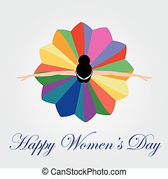 Womens day card with a dancing woma