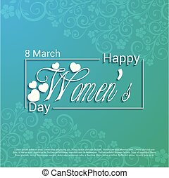 Women's day card with blue pattern background