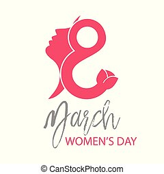Women's day card with white background