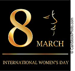 Womens day graphic in gold