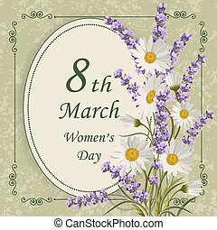 Womens day greeting card. - 8 March lettering greeting card...